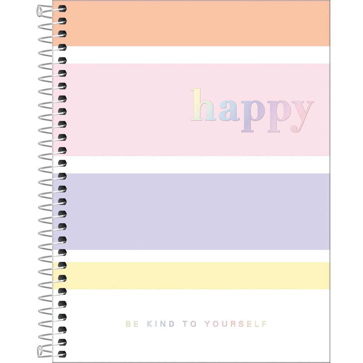 Caderno Espiral Capa Dura Happy Colorido Colegial 1 Matéria 80 Folhas