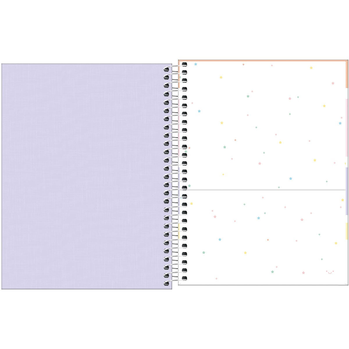 Caderno Espiral Capa Plástica Colegial 10 Matérias Happy Lilás 160 Folhas