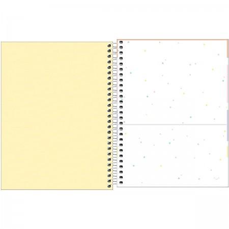 Caderno Espiral Capa Plástica Colegial 1 Matéria Happy Amarelo 80 Folhas