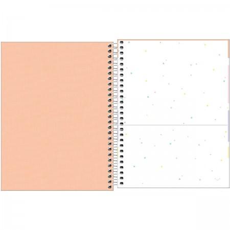 Caderno Espiral Capa Plástica Colegial 1 Matéria Happy Coral 80 Folhas
