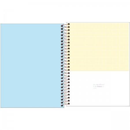 Caderno Happy Azul Com Pauta Colegial 1m 80 Folhas