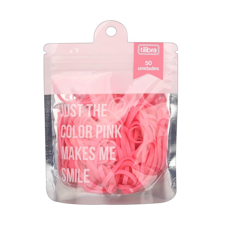 Elástico Colorido Rosa Claro Bag/50