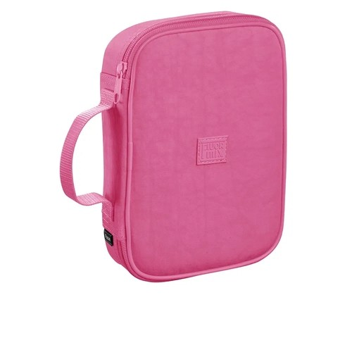 Estojo Fluor Mix Soft Rosa C/ Compartimento P/100 Lápis