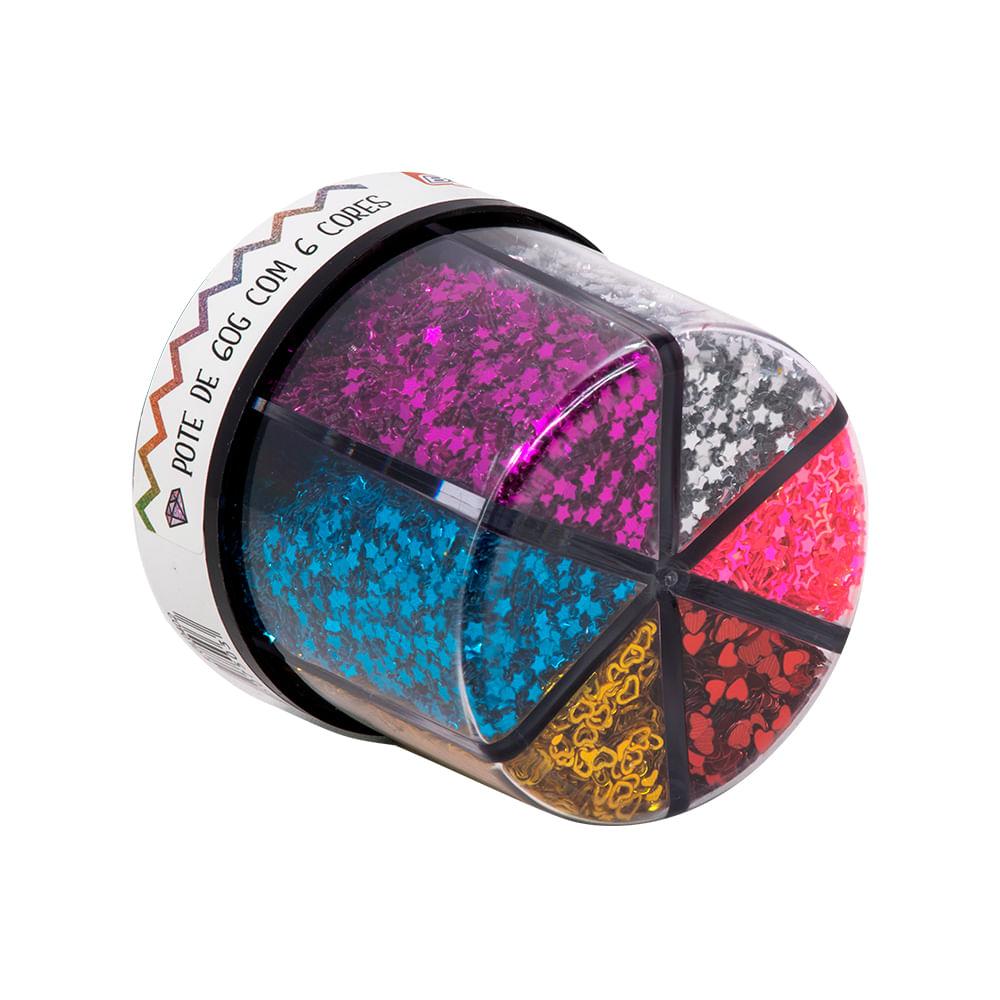 Glitter Shaker Coração e Estrela Colors com 6 Cores GL0402