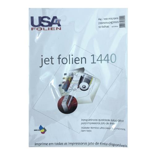 Jet Folien 1440 C/ 10 Fls A4 100 Microns Transp P/ Impr