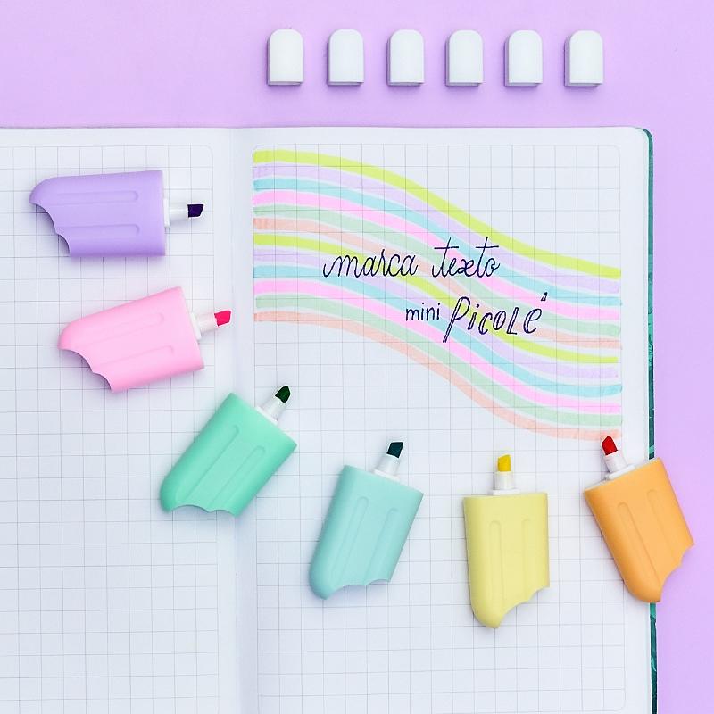 Marca Texto Mini Picolé 6 Cores