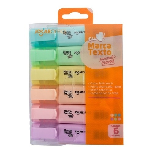Marca Texto Pastel Trend Estojo C/ 06 Cores