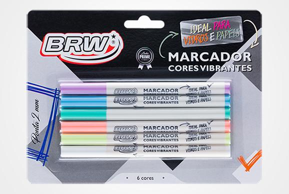 Marcador Cores Vibrantes 6 Cores