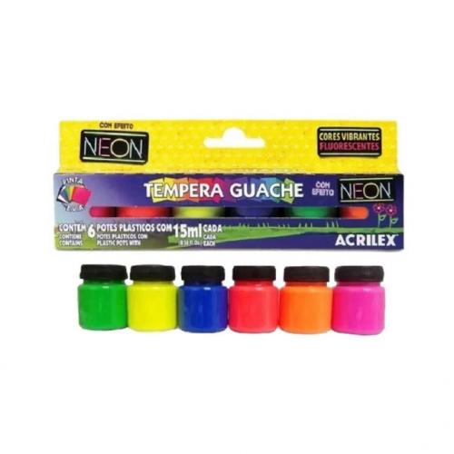 Tinta Tempera Guache Efeito Neon Acrilex