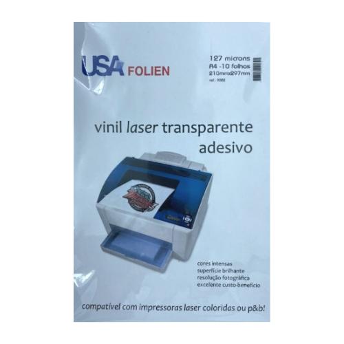 Vinil Laser Transp Adesivo C/10 Fls A4 127 Microns