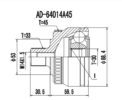 Homocinetica Audi A4 20/16V/ Vw Gol/Parati 2.0/Passat 1.8 20V 33x30