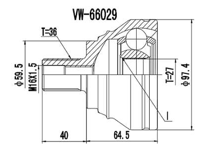 Homocinetica Audi Q3 2.0 / A3 1.4/1.6/2.0 Automático 36x27