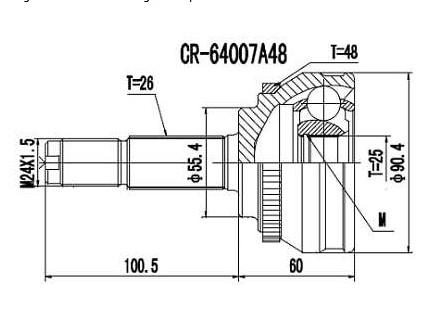 Homocinetica Chery Tiggo 2.0 16V Manual c/Abs int 25  ext 26