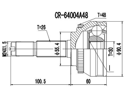 Homocinetica Chery Tiggo 2.0 16V Manual c/Abs int 30  ext 26