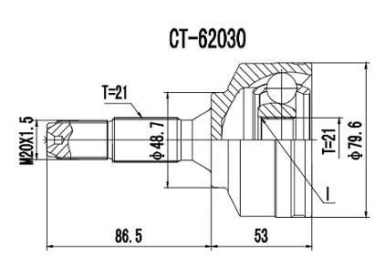 Homocinetica Citroen C3 1.4 Motor TU3JP / 206 1.0 21x21