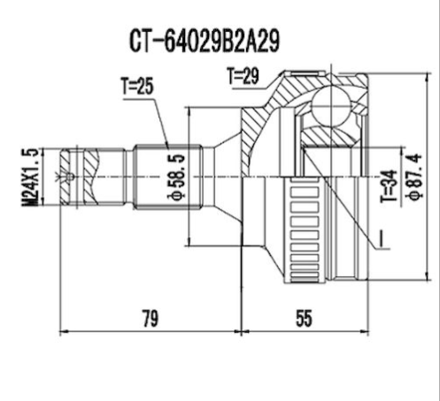 Homocinetica Citroen Xsara Picasso 2.0 16V c/Abs 25x34