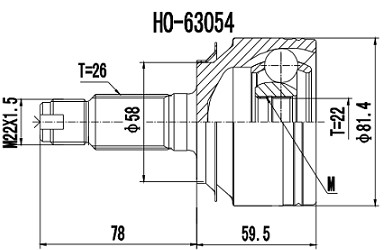 Homocinetica City 1.5/New Fit 1.4/1.5 16V Mec. int 22 ext 26