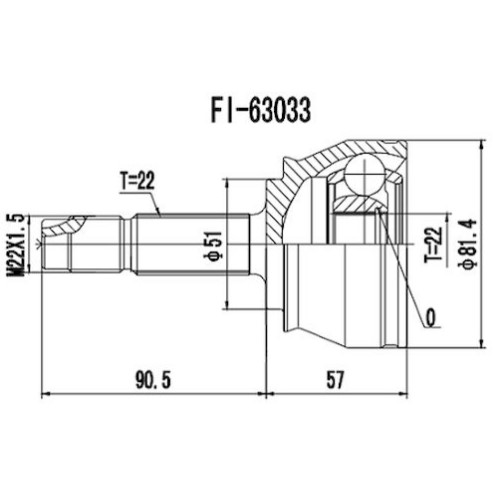 Homocinetica Fiat Strada 1.3/1.5/1.6 Ext 22 Int 22