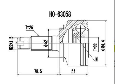 Homocinetica Fit 1.4 8V / Fit 1.5 16V Manual/Aut. 26x22