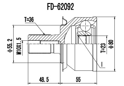 Homocinética Ford Focus 2.0 Duratec Automático/Manual 23x36