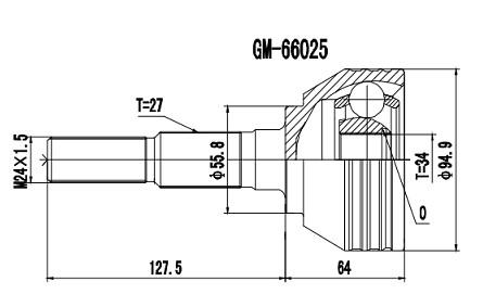 Homocinética Gm S10 / Blazer 2.8 4x4 1996/2011 34 x 27