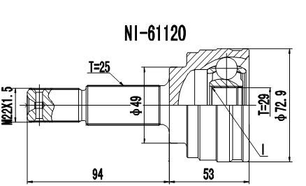 Homocinética Nissan Kicks 1.6 Automático C/Abs 29 x 25