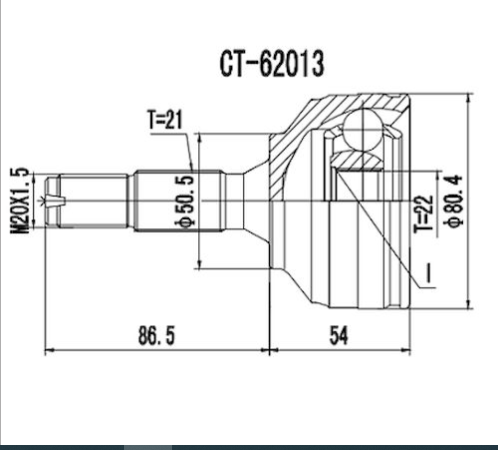 Homocinetica Peugeot 206 1.0 16V / 207 1.4 8V 21x22