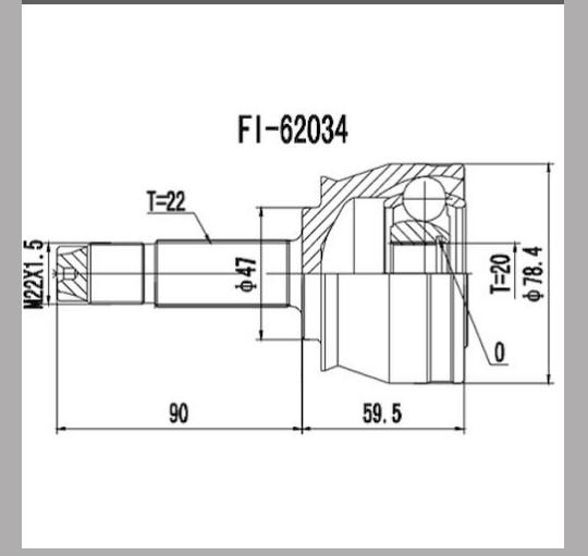 Homocinetica Uno/Palio/Siena 1.0/1.3 Fire Ext 22 Int 20
