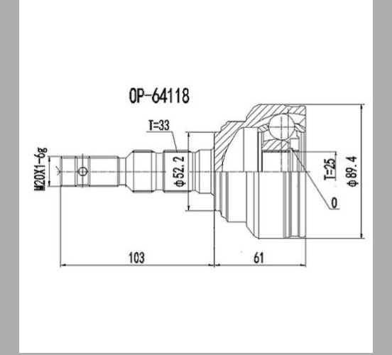 Homocinetica Vectra 2.0/2.4 / Astra/Zafira 2.0 Ext 33 Int 25