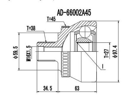 Junta Homocinetica Audi A4/A6 V6 2.6/2.8 / Passat 1.8/2.8 38x27