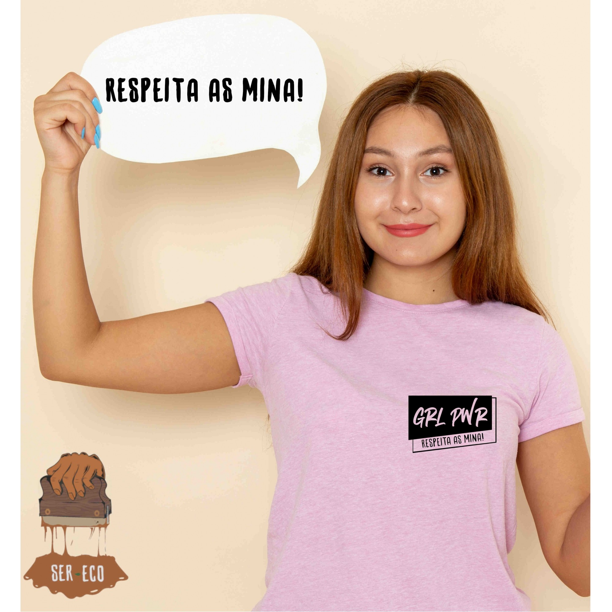 """Camiseta Ecológica - """"Respeita as Mina!"""""""