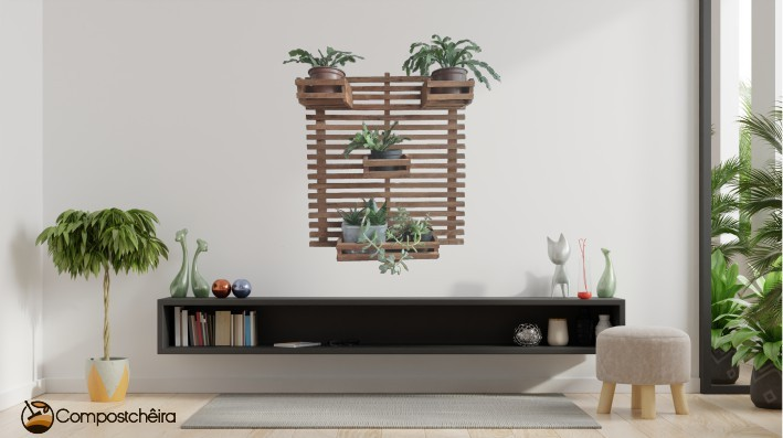 Floreira Vertical de madeira