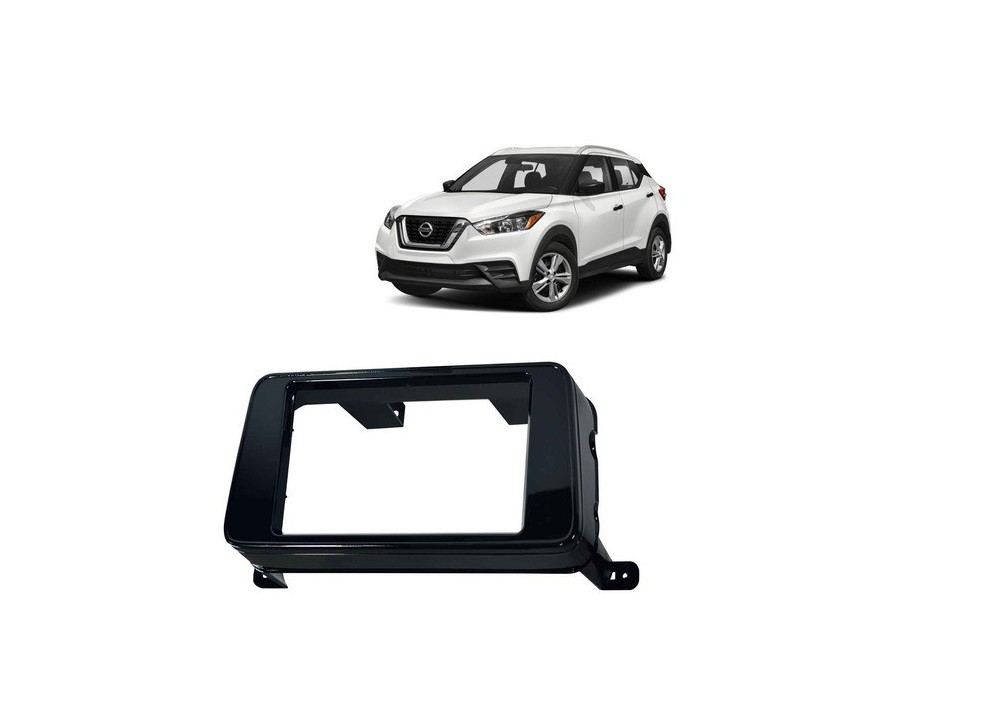 Moldura 2 Din Nissan Kicks Black Piano - Fiamon 4004