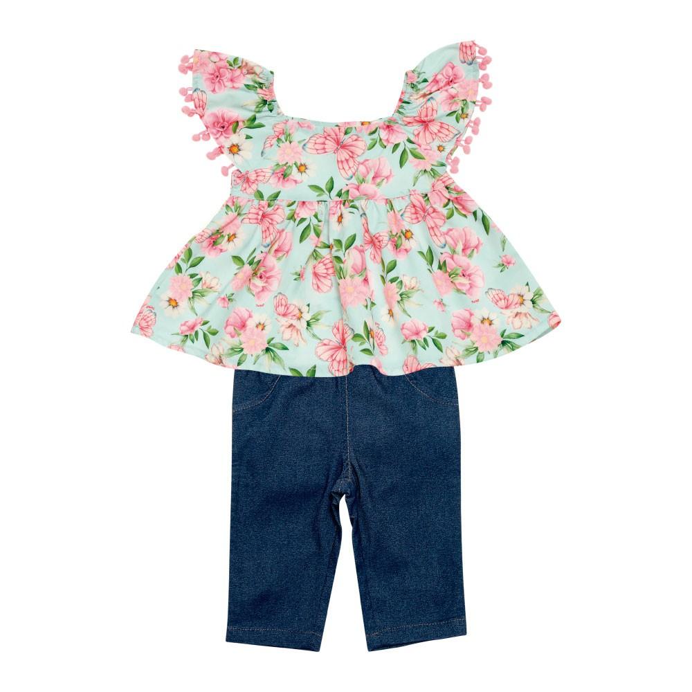 Conjunto blusa e capri primavera verão
