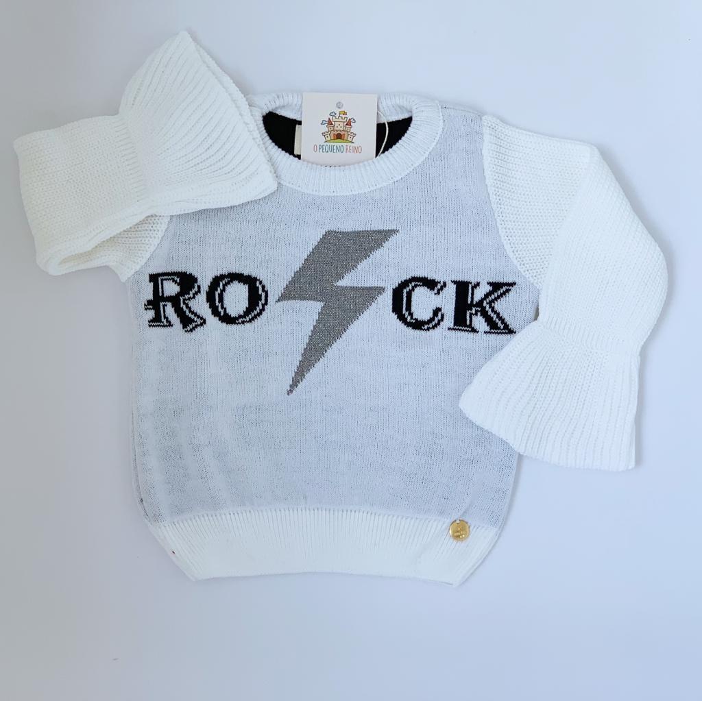 Blusa Rock  Tricot Branca