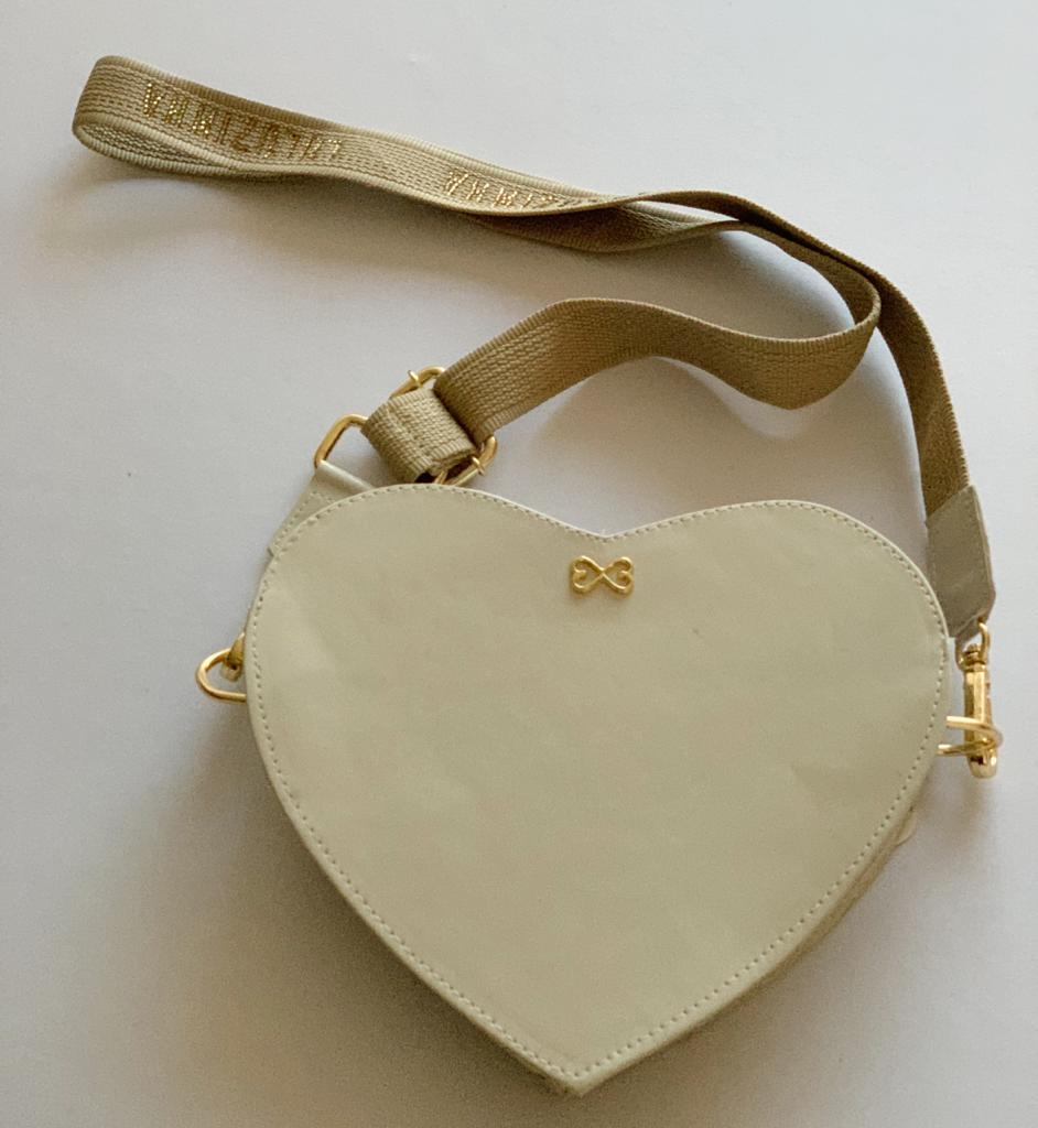 Bolsa Coração Verniz Bege