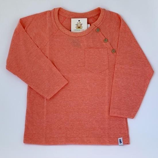 Camiseta Manga comprida botões laranja