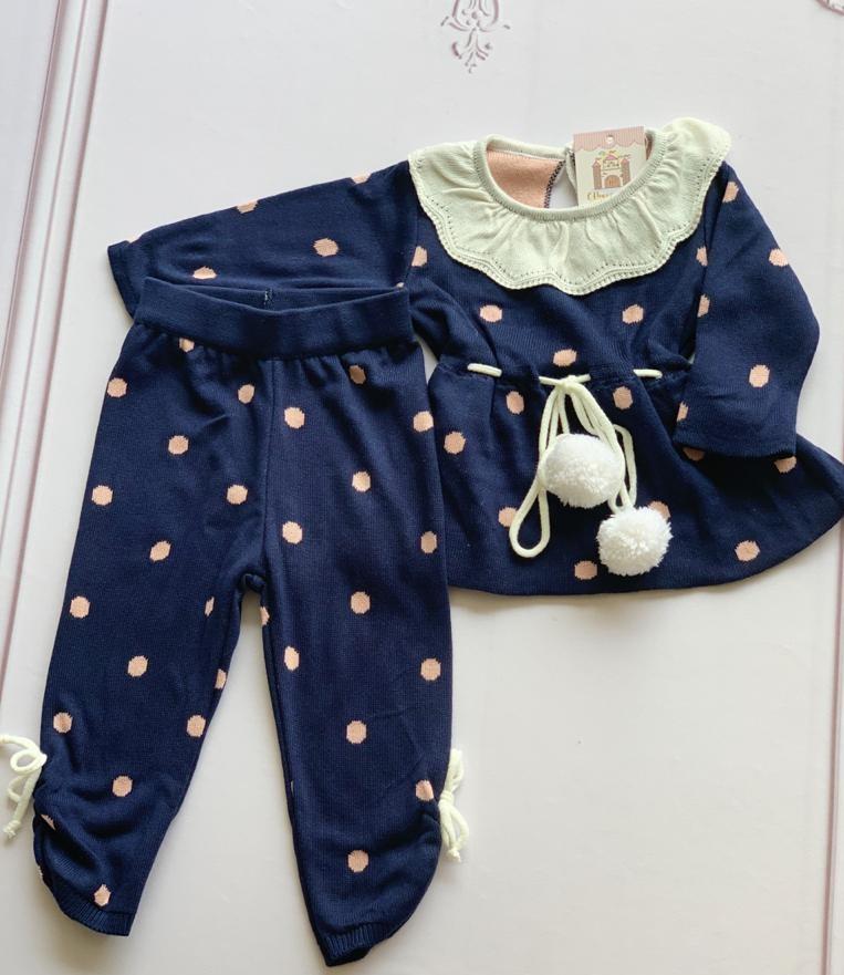 Conjunto Marie bebê azul marinho