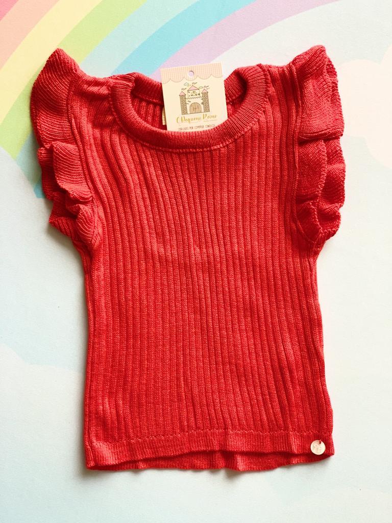Cropped Emoção tricot vermelha Minilady