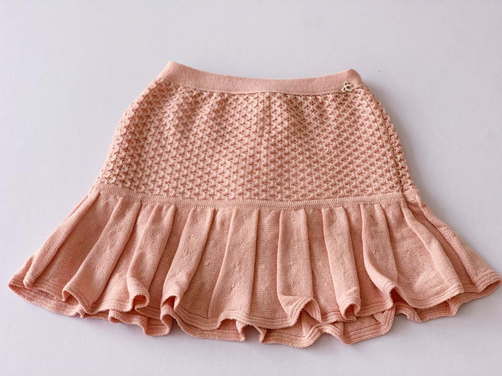 Saia Paula tricot rosa infantil