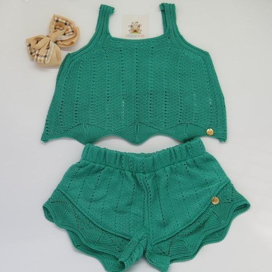 Shorts Tricot Violeta Verde