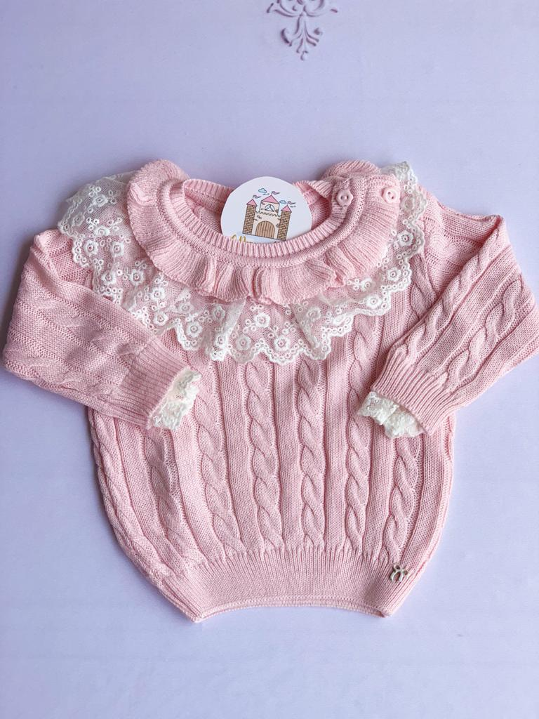 Sweater Nadia tricot Baby Rosa Bebê