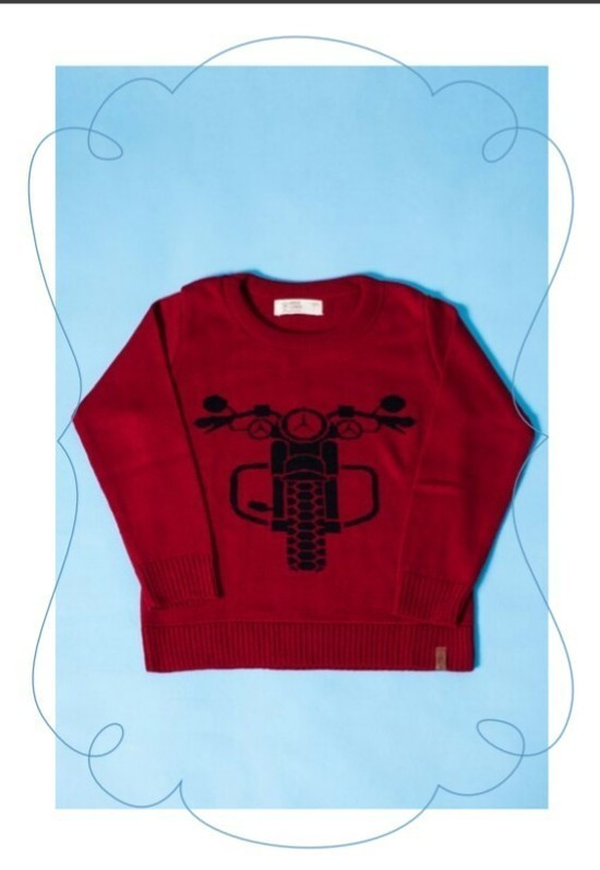 Sweater Tricot Infantil Moto Vermelha