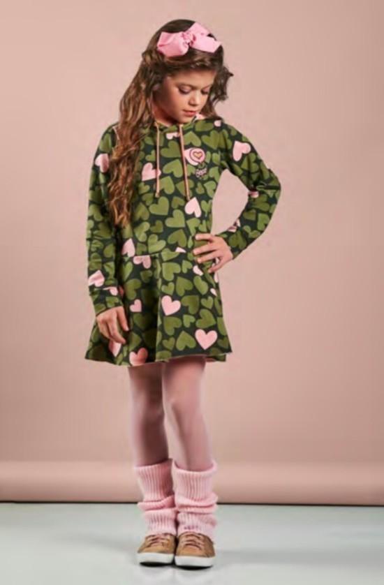 Vestido Camuflado coracões com capuz