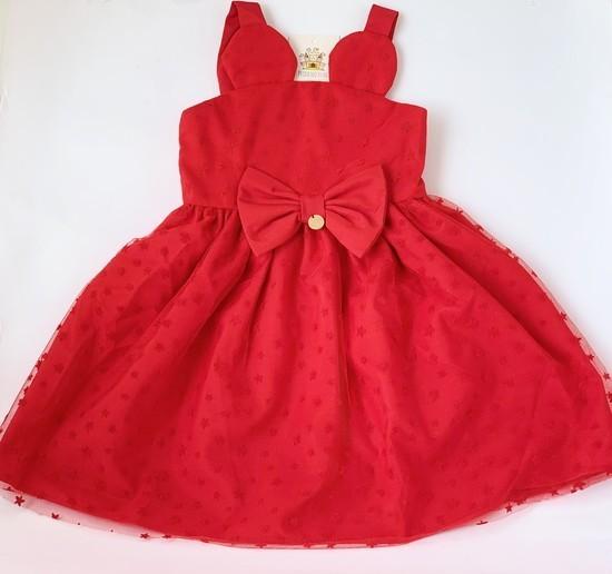 Vestido infantil Vermelho Tule Estrelas
