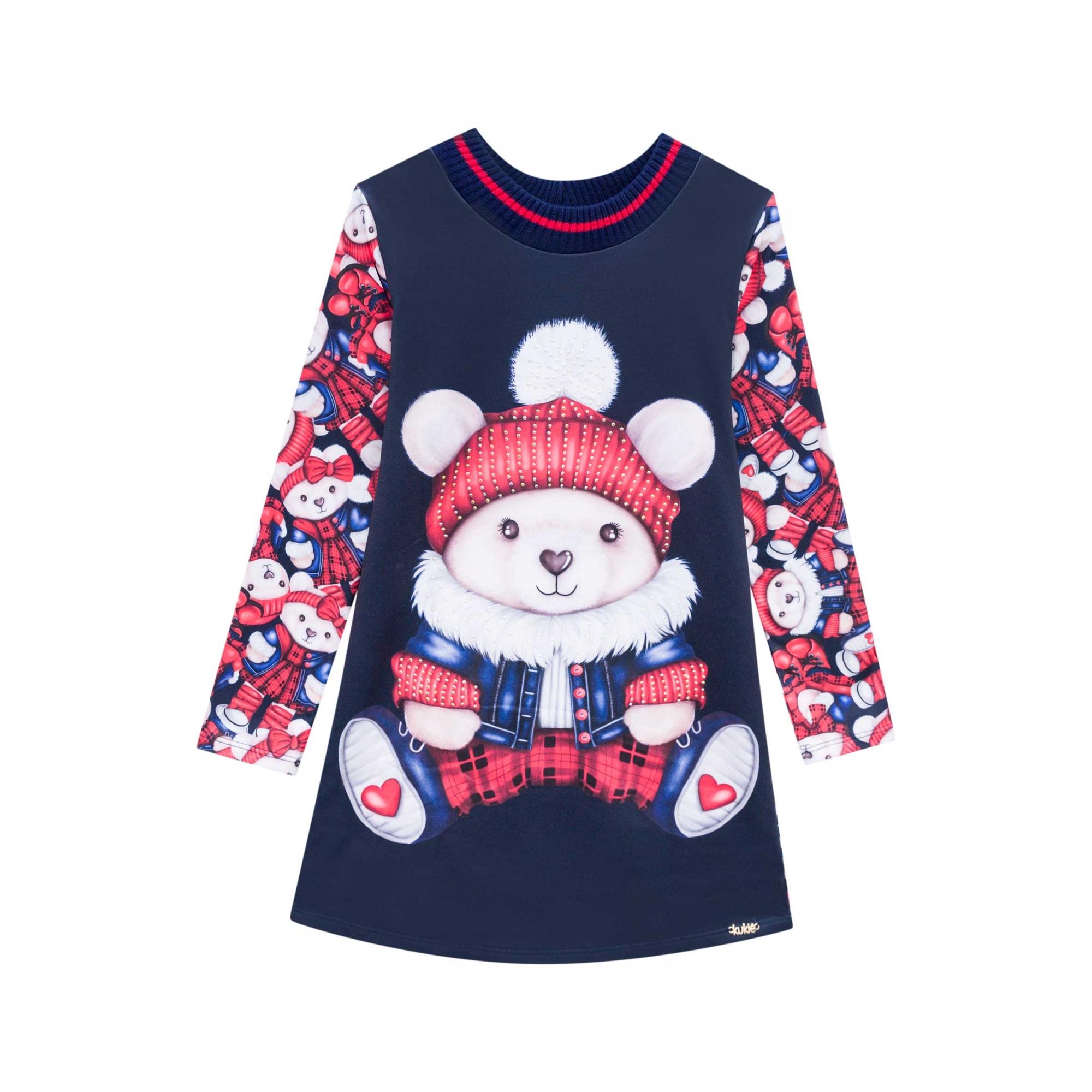 Vestido Urso Polar vermelho