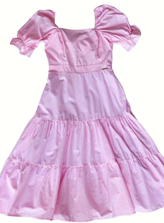 Vestido Xadrez Mãe rosa