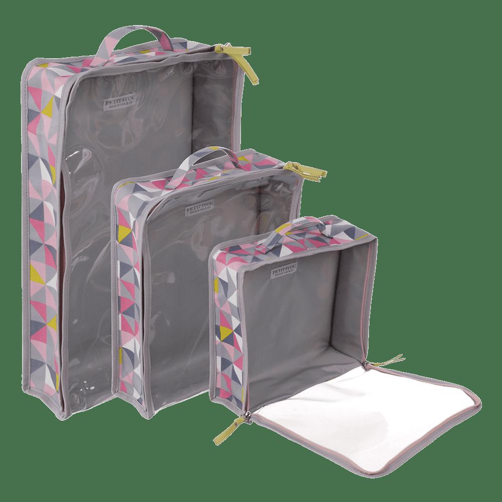 kit organizador para mala geometric rosa