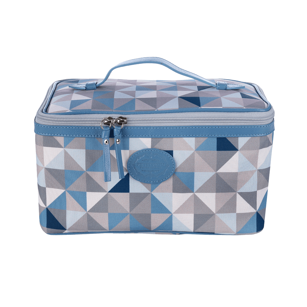 Necessaire Alça De Couro Geometric Azul