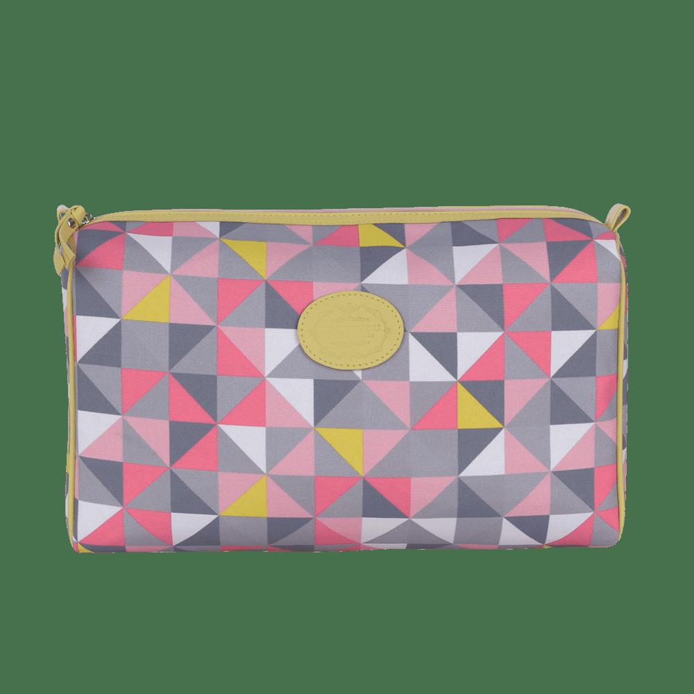 Necessaire basica geometric rosa